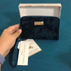 Adrienne Vittadini Studio Turquoise Velvet Wallet